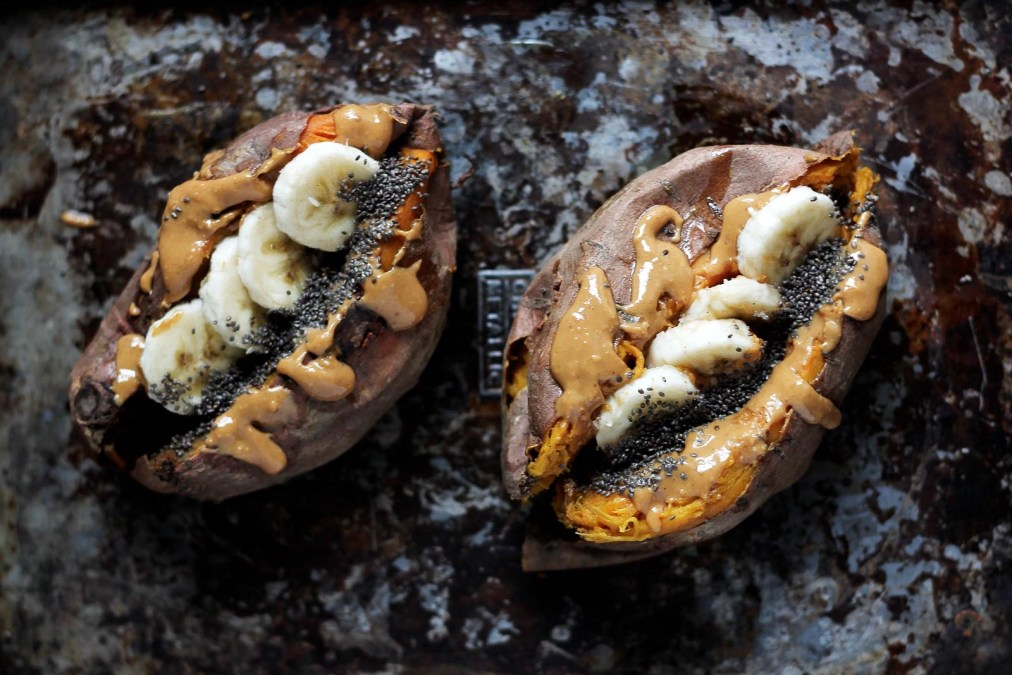 Breakfast Baked Sweet Potatoes with Almond Butter