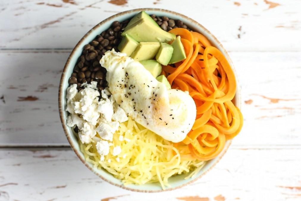 Lentil Spaghetti Squash Breakfast Bowl
