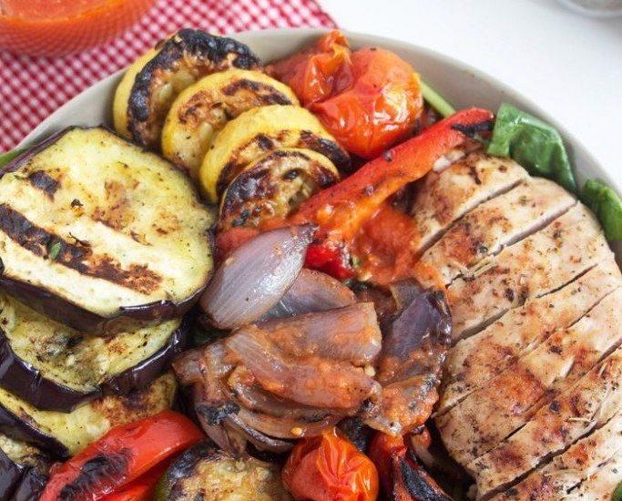 Grilled Veggie and Chicken Salad