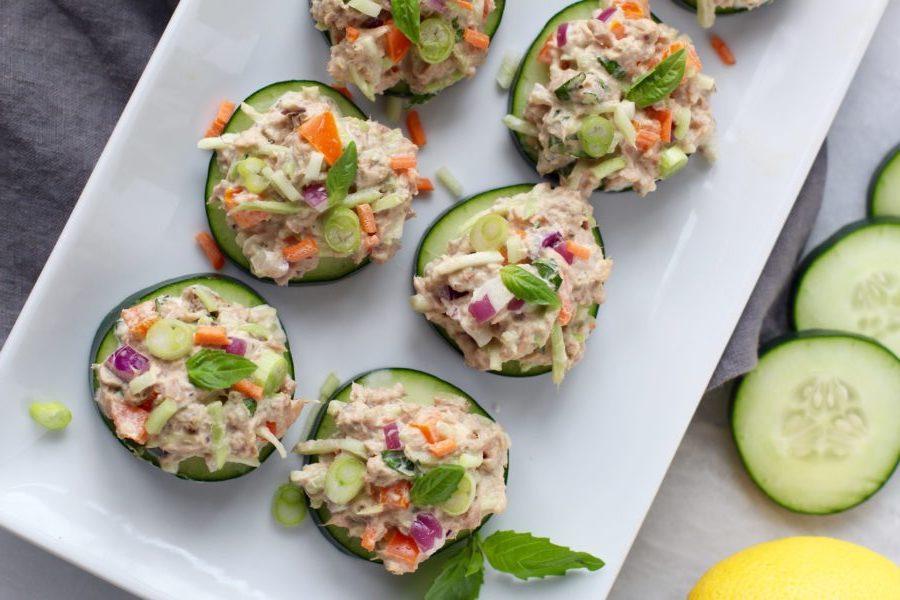 Cashew Tuna Salad Cucumber Bites