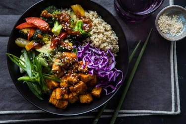 Korean Barbecue Tofu Bowls with Stir-Fried Veggies and Quinoa