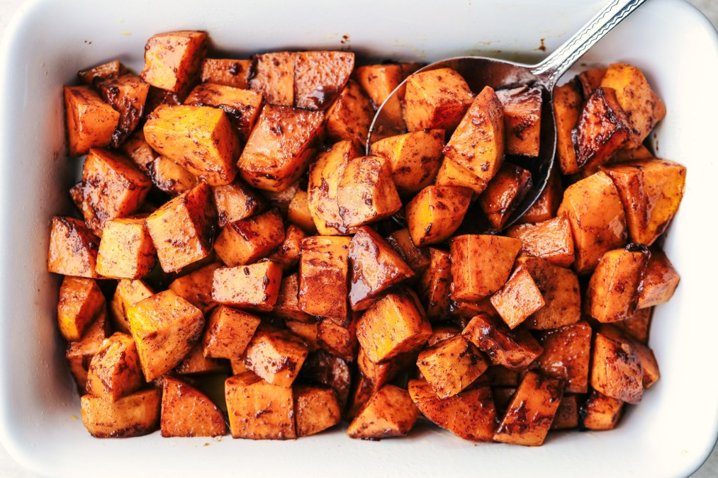 Roasted Honey Cinnamon Butter Sweet Potatoes