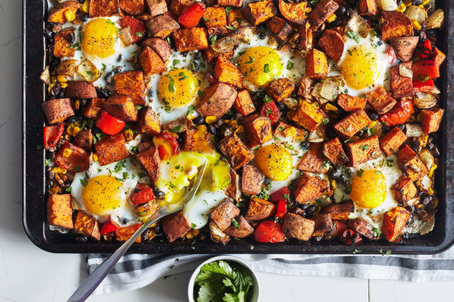 Sheet Pan Sweet Potato Hash with Eggs