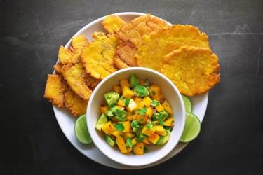 Fried Green Plantains with Mango Avocado Salsa