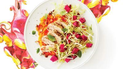 Dragon Fruit Salad with Lemony Chicken & Butternut Purée