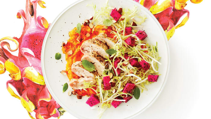 Dragon Fruit Salad with Lemony Chicken & Butternut Purée