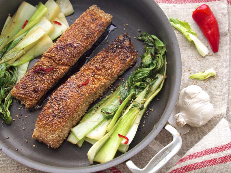 Sesame Crusted Salmon with Baby Bok Choy